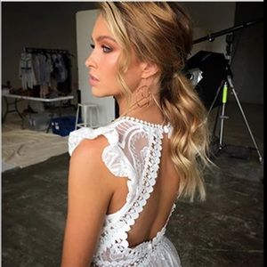 Dresses - Breathtaking sheer lace open back dress w bodysuit